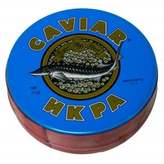 Черная осетровая икра дикого вылова - забойная дагестанская imperial - империал каспийская 50 грамм жесть банка